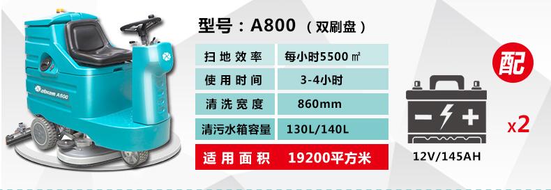 亚伯兰A 800B手推式洗地机参数解读图